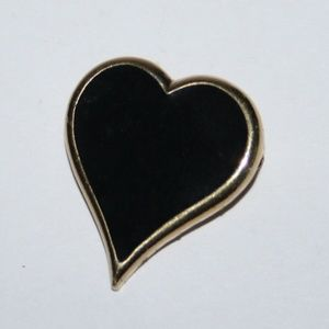 Vintage black and gold heart Sarah Cov brooch